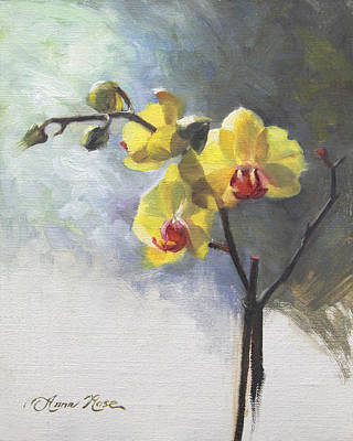 Orchid Poster featuring the painting Yellow Orchid by Anna Rose Bain