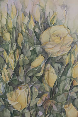 Yellow Tea Rose Closeup Poster by Lynne Bolwell