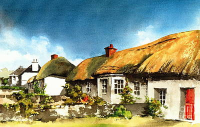 Yellow Thatch In Adare  Limerick Poster by Val Byrne