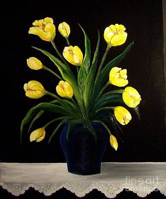 Yellow Tulips And White Eyelet Poster by Peggy Miller
