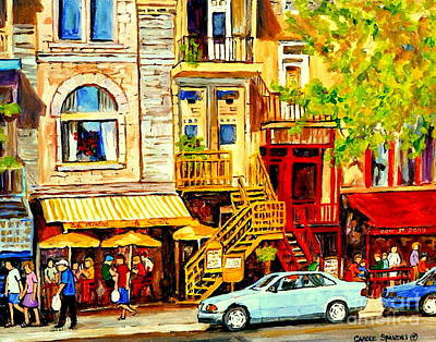 Yellow Umbrellas On Rue St Denis Cafe Paintings Montreal Summer City Scenes Cafe Soleil Bistro  Poster by Carole Spandau