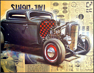 Yesterday Hotrod Poster by Kip Krause