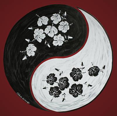 Yin And Yang Of Hibiscus  Poster by Chikako Hashimoto Lichnowsky