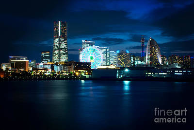 Yokohama Minatomirai At Night Poster by Beverly Claire Kaiya