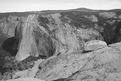 Yosemite's El Capitan From Taft Point Bw Poster by Bruce Gourley