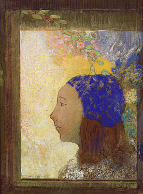 Young Girl In A Blue Bonnet Poster by Odilon Redon