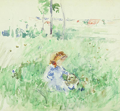 Young Girl Seated On The Lawn Poster by Berthe Morisot