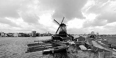 Zaanse Schans Pano In Black And White Poster by Jenny Hudson