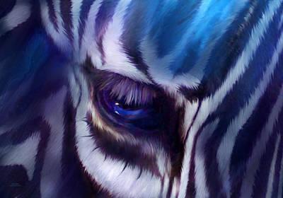 Zebra Blue Poster by Carol Cavalaris
