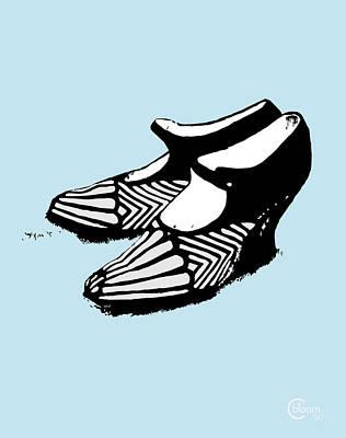 Zelda Fitzgerald's 1920 Flapper Shoes...robins Egg Blue Poster by Cecely Bloom
