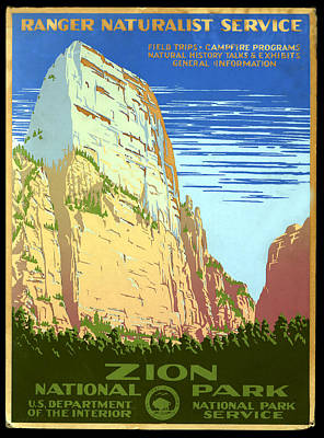 Zion National Park Ranger Naturalist Service  Poster by Unknown