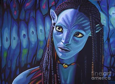 Zoe Saldana As Neytiri In Avatar Poster by Paul Meijering