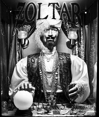 Zoltar Black And White Poster by John Rizzuto