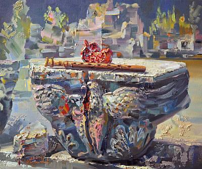 Zvartnots Eagle Duduk And Pomegranate Poster by Meruzhan Khachatryan