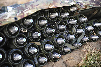 81mm Mortar Rounds Ready Stacked Ready Poster by Andrew Chittock