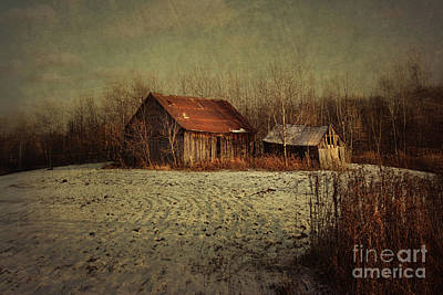 Abandoned Barn After The First Snow Poster by Sandra Cunningham