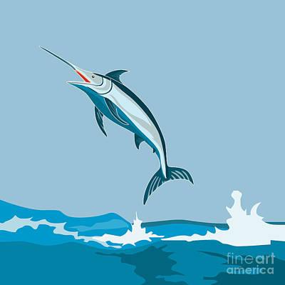 Blue Marlin Fish Jumping Retro Poster by Aloysius Patrimonio