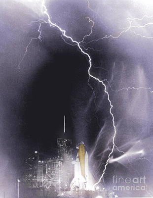 Challenger Struck By Lightning Poster by Nasa