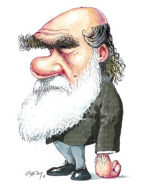 Charles Darwin, Caricature Poster by Gary Brown
