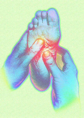 Computer Artwork Of Reflexologist Massaging A Foot Poster by David Gifford