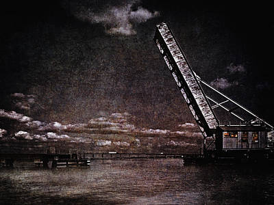 Drawbridge At Night Poster by Skip Nall