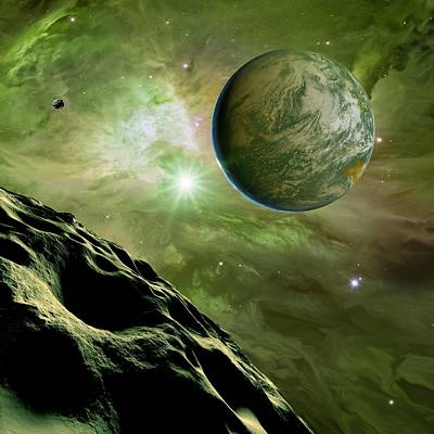 Earthlike Planet In Orion Nebula, Artwork Poster by Detlev Van Ravenswaay