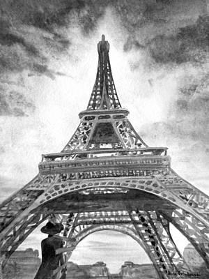 Black And White Paris Poster featuring the painting Eiffel Tower Paris France by Irina Sztukowski