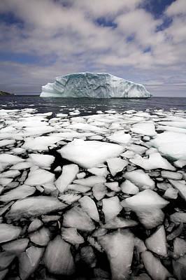 Floating Ice Shattered From Iceberg Poster by John Sylvester