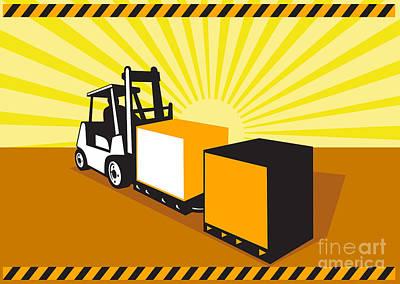 Forklift Truck Materials Handling Retro Poster by Aloysius Patrimonio