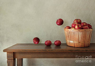 Fresh Apples On Wooden Table Poster by Sandra Cunningham