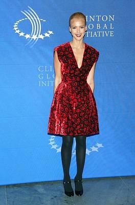 Jessica Alba Wearing A Prada Dress Poster by Everett