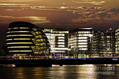 London City Hall At Night Poster by Elena Elisseeva