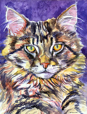 Maine Coon Cat Poster by Lyn Cook