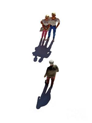 Miniature Figurines Couple Watching Elderly Man Poster by Bernard Jaubert