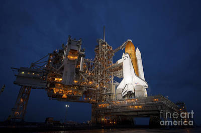 Night View Of Space Shuttle Atlantis Poster by Stocktrek Images