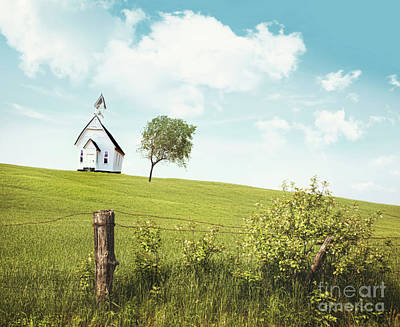Old Country School House  On A Hill  Poster by Sandra Cunningham