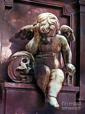 Paris Cemetery - Pere La Chaise - Cherub And Skull Poster by Kathy Fornal