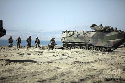 Peruvian Marines Disembark Amphibious Poster by Stocktrek Images