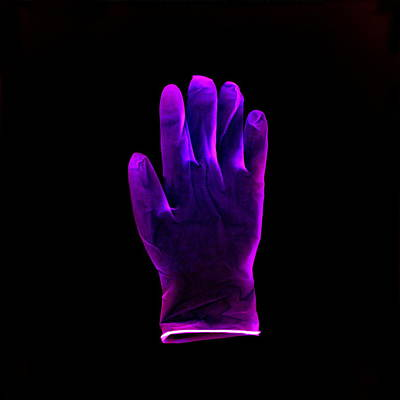 Plastic Glove, Negative Image Poster by Kevin Curtis