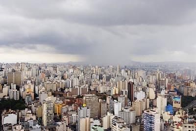 Rain Shower Approaching Downtown Sao Paulo Poster by Jeremy Woodhouse