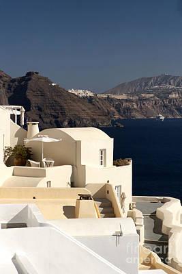 Santorini View Poster by Leslie Leda