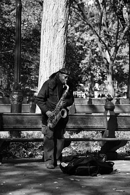 Sax Man Of Central Park In Black And White Poster by Rob Hans