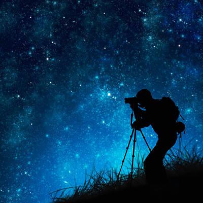 Silhouette Of Photographer Shooting Stars Poster by Setsiri Silapasuwanchai