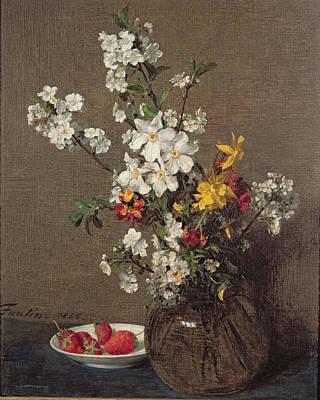 Spring Bouquet Poster by Ignace Henri Jean Fantin-Latour