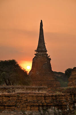 Stupa Chedi Of A Wat In Ayutthaya Thailand Poster by Ulrich Schade