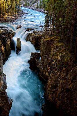 Sunwapta Falls In Jasper National Park Poster by Mark Duffy