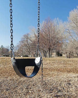 Swing Set On A Grass Field Poster by Thom Gourley/Flatbread Images, LLC