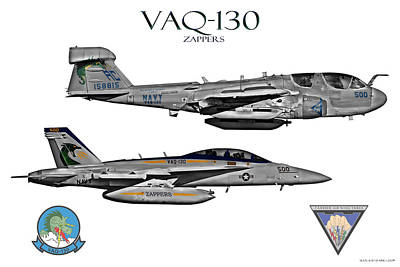Vaq-130 Prowler And Growler Poster by Clay Greunke