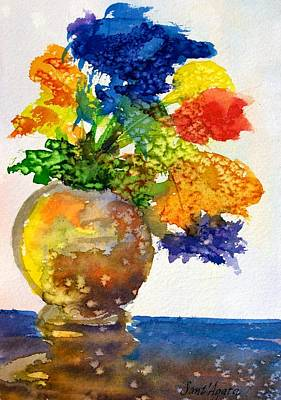 Vase With Flowers Poster by Frank SantAgata