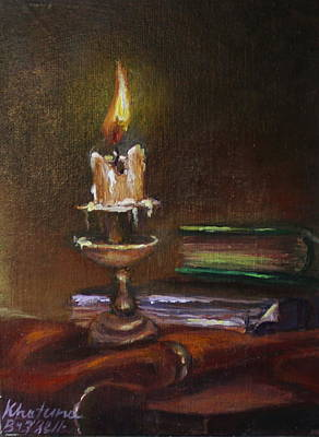 Vintage Candle Still Life Poster by Khatuna Buzzell